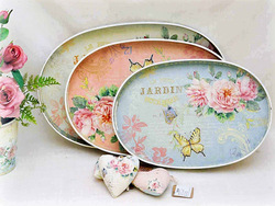 2014 New Rose and Butterfly Jardin Design Plastic Tray