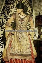 New pakistani style beautiful heavy embroidery skin colour wedding Evening dress with long dupatta