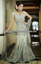 New pakistani style beautiful heavy embroidery grey colour wedding Evening dress with long dupatta