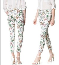 Autumn 2014 European style fashion models black and white wild plum Cross Slim pants feet pants tight pants women21