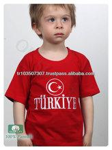 Bayrak Turkey children/summer t-shirt children/2014 fashion printed children t-shirt