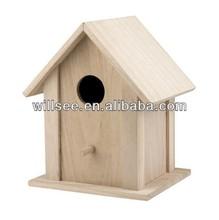 Birdhouse1012, madera de pino macizo pajarera, la jaula del pájaro
