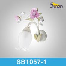 1 light glass shade iron flower wall lamp