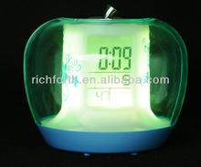 2014 New Apple Shape LED Color Changing LCD Alarm Clock