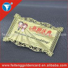 free design logo America style metal wedding invitation card etching hollow out brass wedding card
