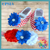 New arrivals infant shoes 4th of July Shoes and headband set Red Chevron crib shoes white red blue flower headband baby shoes