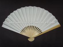 decorative paper fan, white paper + natural bamboo