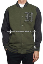 Customized Design Men's best Fit With brand Logo Cotton Varisty jacket