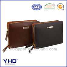 metal zipper fashion men bag popular purse leather zipper