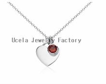 Garnet Birthstone large Heart Pendant Sterling Silver necklaces with initials