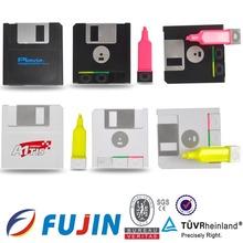 CD shape marker double ended highlighter for 3 color in 1 promotion to import novelties promotional highlighter pen stationery