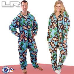 Monkey Pattern Plus Size Adult Couple Onesie Pajamas