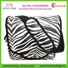 2014 Fashion Canvas Coated Dad diaper bag Fancy Neutral Zebra Baby Diaper Bag Wholesale
