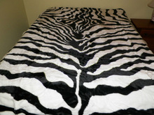 NEW QUEEN SIZE ZEBRA ANIMAL PRINT KOREAN STYLE PLUSH MINK BLANKET SOFT WARM