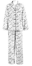 Women's Cotton Flannel Long Sleep Pajama Sets Decorative Music Notes