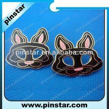 Cute black rabbit shaped metal lapel pins imitation cloisonne pin badges