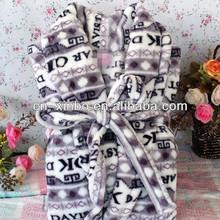 100% Polyester Letter Pattern Soft Coral Fleece Bathrobe Dress Gown