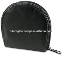 ADACC - 0013 newest coin purse with zipper / black leather coin purse / fashion ladies' coin purse