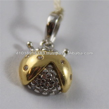 SOLID 18K WHITE & YELLOW GOLD PENDANT, 0,93 In, LUCKY LADYBIRD SHAPE, ZIRCONIA.
