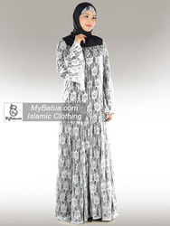 Wholesale, Muslim Hijab Dress, Dubai Fancy Burqa, Burak, Elegant Ladies Maxi, Beautiful White Flower Net Abaya Ay-283WH