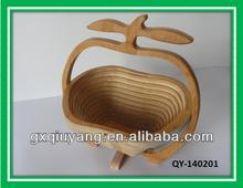2014 Eco-friendly Natural Bamboo Apple Folding Fruit Basket