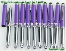 Cheap promotional metal light tip ball pen /led torch light pen