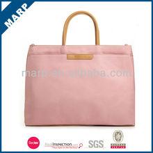 High quality stylish pink polyester ladies laptop bag
