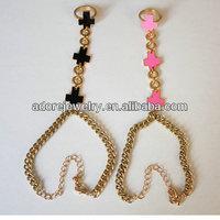 Gothic enamel cross finger hand piece ring bracelet for lady