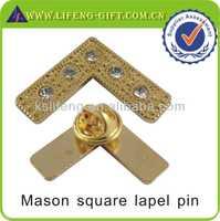metal badge with rhinestone mason square lapel pin
