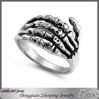 Men's stainless steel skeleton hand ring