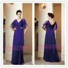 2014High Quality Spring Vintage Bohemian Style Long Purple Chiffon Short Sleeve Mother Of The Bride Beach Wedding Dress(BO3815)