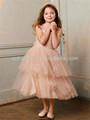 Ht796 precioso un- línea de tul champán sin mangas flor vestidos de niña