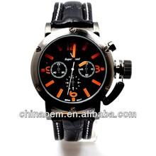 manufacturing Noble V6 Orange & White Numerals Black Leather Watch Men Fashion Hour Marks Round Dial Sports Quartz watch phone