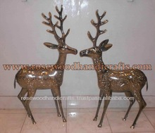 Brass Engraved deer Statue, Brass Animal Statue, Brass Handicraft