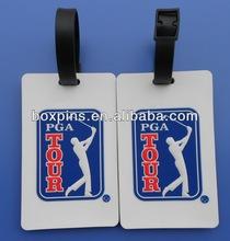 Custom rectangular golf pvc/rubber luggage/bag tag for promotion