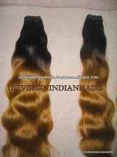 Top quality long lasting 100% human wholesale raw virgin indian hair Ombre hair grade 7A 100% Virgin Indian Human Hair weave