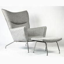 Wing Chair and Ottoman / Replica Designer Furniture / Antique Furniture