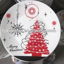 stock white porcelain christmas tree plate
