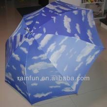 Customize priting beautiful sky with cloud double rib golf umbrella