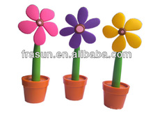 Different Color Rubber Pen Popular Office Decoration Novelty Flower Pen