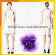 ladies fashionable beaded white worsted halter dress