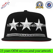 Custom design star 3D embroidery logo flat brim snapback caps/hats