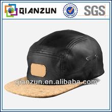 High quality custom leather 5 panel snapback cap
