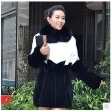 2014 European Luxurious 2014 Women rex rabbit fur Coat long fur white and black Jacket with fox for winter C414001