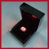 new design hot sale piano black finish led light wooden jewelry championship ring box