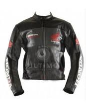 honda siyah motosiklet yarış deri ceket