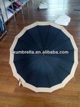 "27"" strong frame walking stick rain umbrella with 16 ribs"
