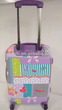 2014 hot sell colorful stylish printing PC/ABS rolling luggage