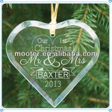 Sandblasting Heart Shape Delicate Glass Ornament For Hanging Decoration