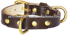 Genuine Brown leather country western pet dog collar